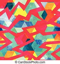 grunge retro mosaic seamless pattern
