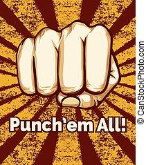 Retro Punching Fist Poster