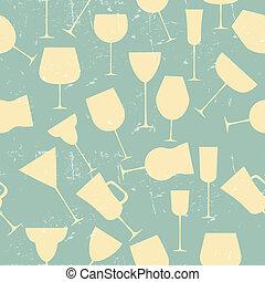 Grunge Retro Seamless background pattern of retro alcoholic glass.