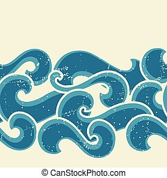 Grunge retro seamless pattern with abstract curly waves