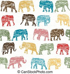 Grunge retro seamless with elephants silhouettes