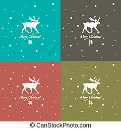 Grunge retro snowflakes and deer