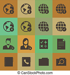 Grunge retro style  mobile phone icons network vector set