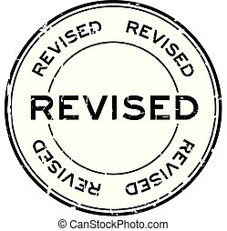 Grunge revised round rubber seal stamp on white background