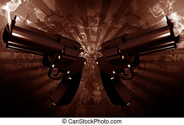 Grunge Revolvers - Gangsta Theme. Grunge Dark Brown...