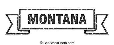 grunge, ribbon., banda, negro, señal, montana