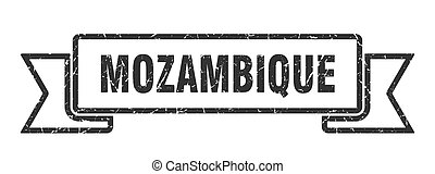 grunge, ribbon., mozambique, banda, negro, señal
