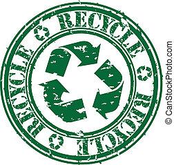 grunge, riciclare, bollo gomma, vettore