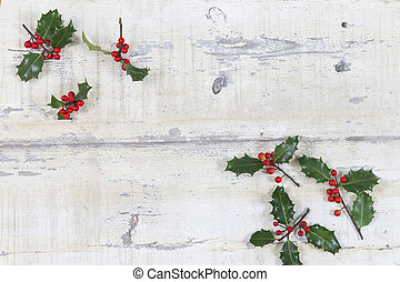 grunge, ridit ut, bär, struktur, traditionell, gammal, ved planka, copyspace, jul, järnek, röd, färgglatt