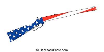 Grunge Rifle Silhouette On United States Flag