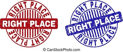 Grunge RIGHT PLACE Scratched Round Stamps - Grunge RIGHT...