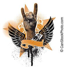 grunge, ritterwappen, zeichen, vektor, emblem, hand