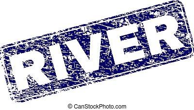 Grunge RIVER Framed Rounded Rectangle Stamp