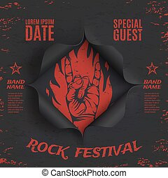 Grunge, rock festival background template.