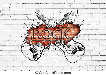 Grunge rock music poster on brick wall