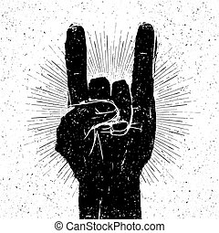"Grunge ""rock on"" gesture illustration. Template for your slogan, text, etc."