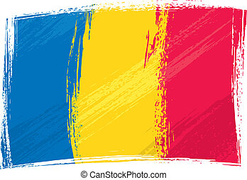 Romania national flag created in grunge style