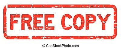 grunge, rood, kosteloos, kopie, plein, rubberverbinding, postzegel, op wit, achtergrond