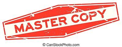 grunge, rood, meester, kopie, woord, zeshoek, rubberverbinding, postzegel, op wit, achtergrond