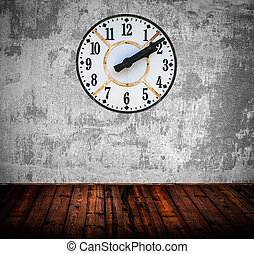 Grunge room with antique wall clock