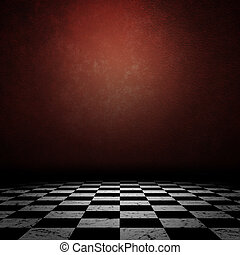 Grunge room with checkered floor
