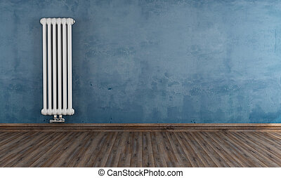 Grunge room with vertical radiator - Blue grunge room with ...