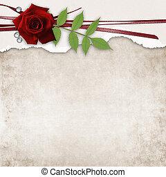 grunge, rose, papier, vieux, carte