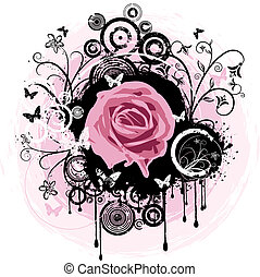 Grunge rose - Rose illustration on decorative grunge...