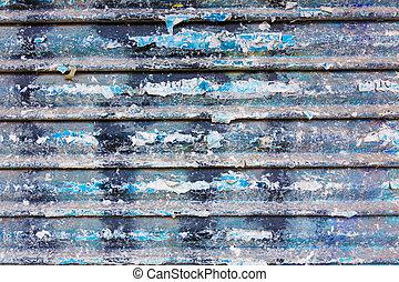 grunge, rostig, järn, dörr, struktur, med, stripes, och, gammal, papper