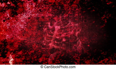 grunge rouge, horreur, squelette