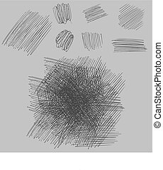 grunge rough hatching drawing textures set. vector illustration