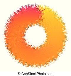 Grunge rough orange ring abstract background