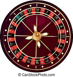 Grunge roulette wheel over white background