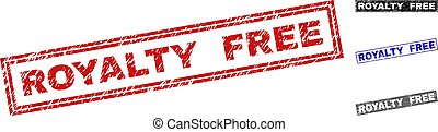 Grunge ROYALTY FREE rectangle stamp seals isolated on a white background. Rectangular seals with grunge texture in red, blue, black and grey colors.