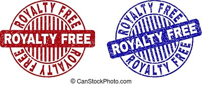 grunge, royalty livre, arranhado, redondo, selos