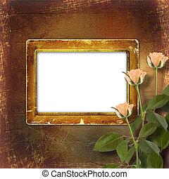 grunge, rozen, papier, felicitatie, room