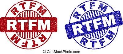 Grunge RTFM Textured Round Stamps