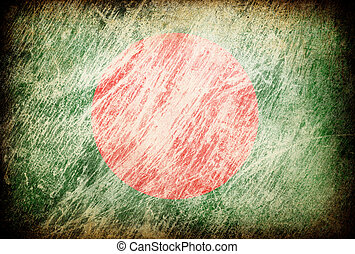 Grunge rubbed flag series of backgrounds. Bangladesh.