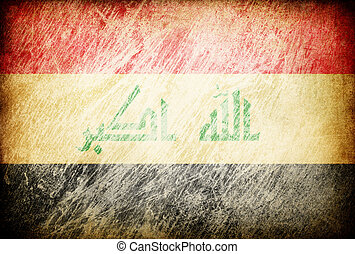 Grunge rubbed flag series of backgrounds. Iraq.