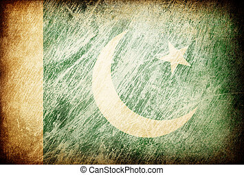 Grunge rubbed flag series of backgrounds. Pakistan.