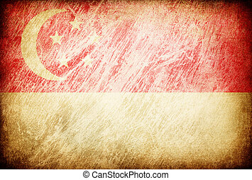 Grunge rubbed flag series of backgrounds. Singapore.