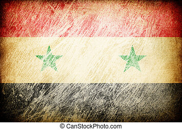 Grunge rubbed flag series of backgrounds. Syria.