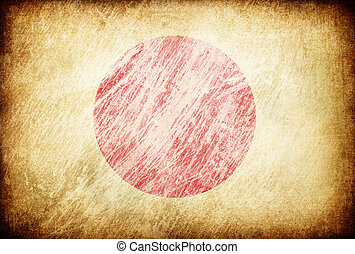 Grunge rubbed flag series of backgrounds. Japan.