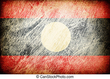Grunge rubbed flag series of backgrounds. Laos.