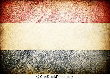 Grunge rubbed flag series of backgrounds. Netherlands.