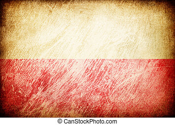 Grunge rubbed flag series of backgrounds. Poland.