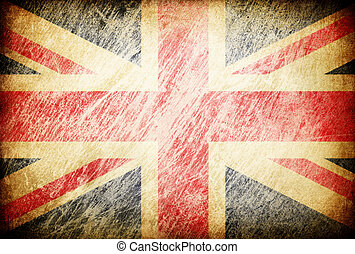 Grunge rubbed flag series of backgrounds. United Kingdom.