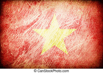 Grunge rubbed flag series of backgrounds. Vietnam.
