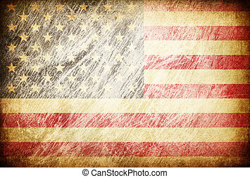 Grunge rubbed flag series of backgrounds. USA.