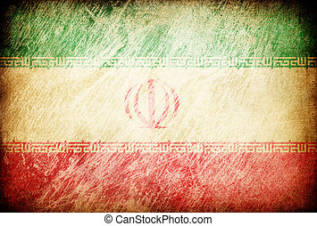 Grunge rubbed flag series of backgrounds. Iran.